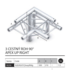 016 - M290 Trio - 3 cestný roh 90 - apex up right