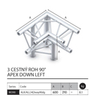 019 - M390 Trio - 3 cestný roh 90 apex down left