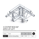 021 - M390 Trio - 3 cestný roh 90 apex up left
