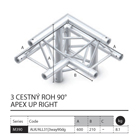 022 - M390 Trio - 3 cestný roh 90 apex up right